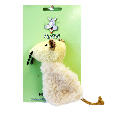 Fuzzy Plush Fleece Lamb body mouse head Cat toy with Velcro slip opening for catnip. Fun exciting cat toy for cats and kittens