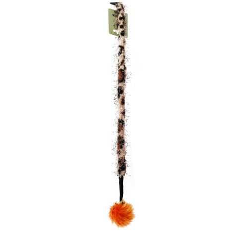 Leopard Print Fluffy Ball Interactive Cat Wand Stick Toy for Cats and Kittens Made with Faux fur and Black Plastic Stick