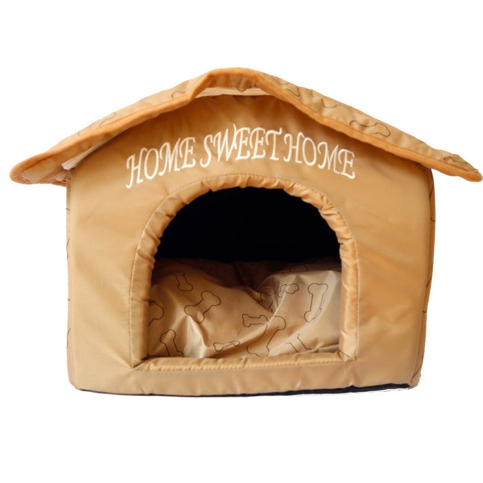 Soft Plush Foam Bed Tent For Dogs and Cats Caramel Brown Labeled Home Sweet Home Comfortable