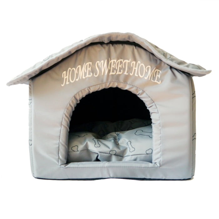 Soft Plush Foam Bed Tent For Dogs and Cats Soft Grey Labeled Home Sweet Home Comfortable