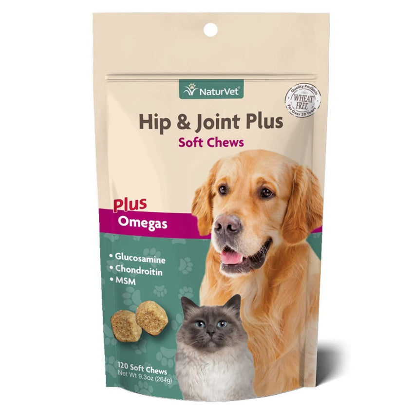 NaturVet Hip & Joint Plus Omegas - 120 Soft Chews