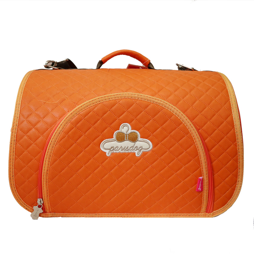 Paris Dog Embroidered Orange Carrier - Small Dogs and Cats