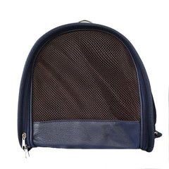 Beautiful Leather Case Carrier for Small Dogs and Cats with nylon stitched leather handles and strap Navy Blue Amy Loves Bags Side Image Profile Breathable Mesh