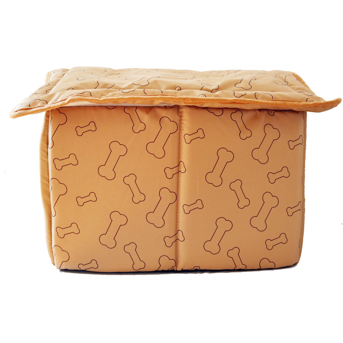 Soft Plush Foam Bed Tent For Dogs and Cats Caramel Brown with Bone Pattern Labeled Home Sweet Home Comfortable