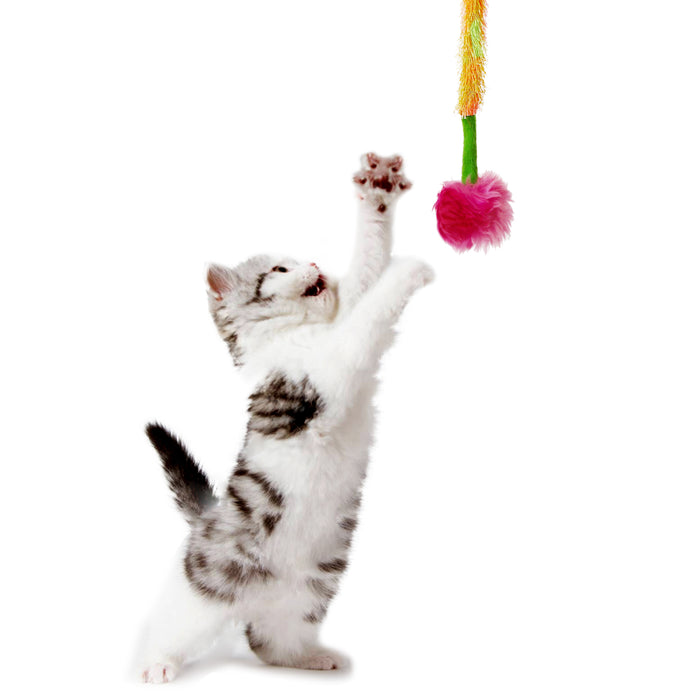 Interactive Crazy Cat Wand Stick toy Pink&Green with Pink Fuzzy Faux Fur Ball Fun String Cat toy for Cats and Kittens Detailed Model Kitten Crazy Play