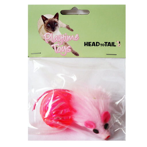 Pink Multitextured Ball Ball with one Furry Pink mouse with String Tail 2 piece one pack cat toy for cats and kittens fun exciting toy