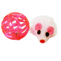 Pink Multitextured Ball Ball with one Furry Pink mouse with String Tail 2 piece one pack cat toy for cats and kittens fun exciting toy Close Up detailed image