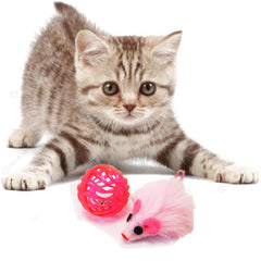 Pink Multitextured Ball Ball with one Furry Pink mouse with String Tail 2 piece one pack cat toy for cats and kittens fun exciting toy. Image with kitten playing