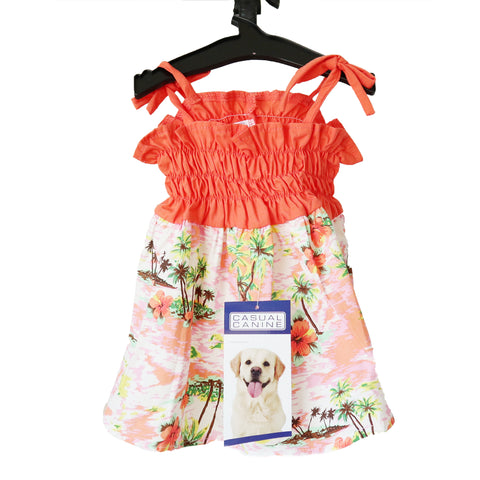 Coral Orange & White Hawaiian Breeze Sundress For Dogs