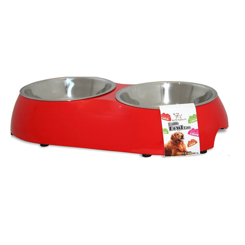 Best Pet Supplies Limited Edition Double Pet Bowl Base with 2 detachable Silver Bowls, Tomato Red Base