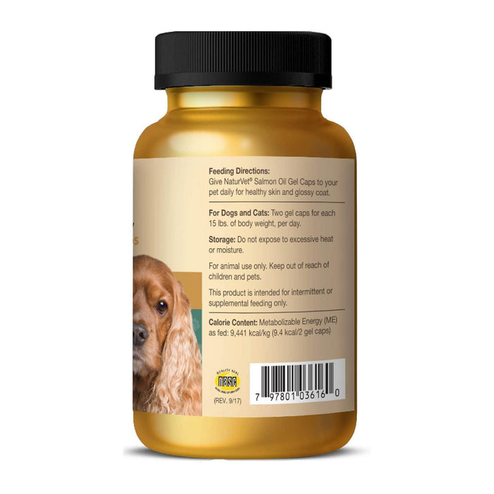 NaturVet Salmon Oil Skin & Coat Gel Caps With Omegas, DHA & EPA - 120 Gel Caps