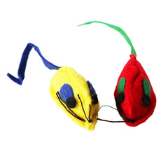 two out of six multi-colored cat toy yellow and red mice cat toy for hours of play and entertainment cat and kitten toy
