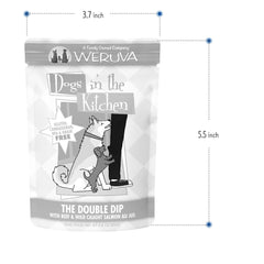 Weruva Dogs In the Kitchen Wet Food Packet Made with Delicious   Complete and Balanced Meal with Cage Free Chicken and Grain, Gluten & Carrageenan Free Net wt. 2.8oz Size Measurements 3.7 Inch x 5.5 Inch