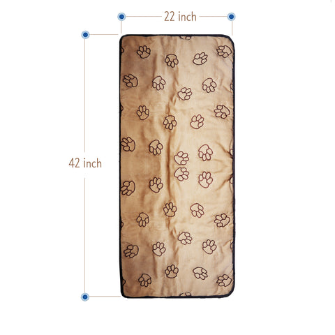 Cruising Companion Single Car Seat Cover Camel with Dark Brown Paw Print Pattern for Travel with Dogs for No Messy Hair on seats Full Size measurements 42 Inch x 22 Inch