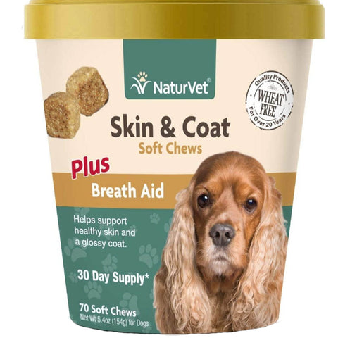 NaturVet Skin & Coat Soft Chews Plus Breath Aid