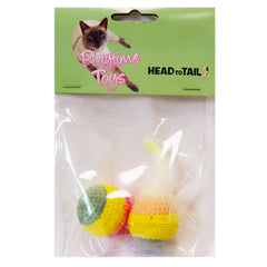 Sponge Ball Cat Toy with Feather