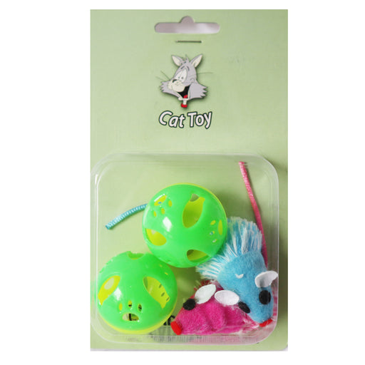 One Pack Of 4 Piece Vibrant Colors to attract your cat toy 2 Fuzzy mice and 2 Bell Balls to create excitement for your cats. Neon green Balls and Pink And Blue Mice