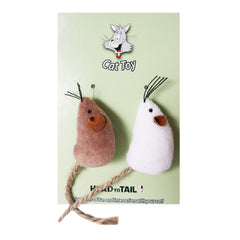 White and Brown Catnip Ball Mouse Toy For Cats 2''