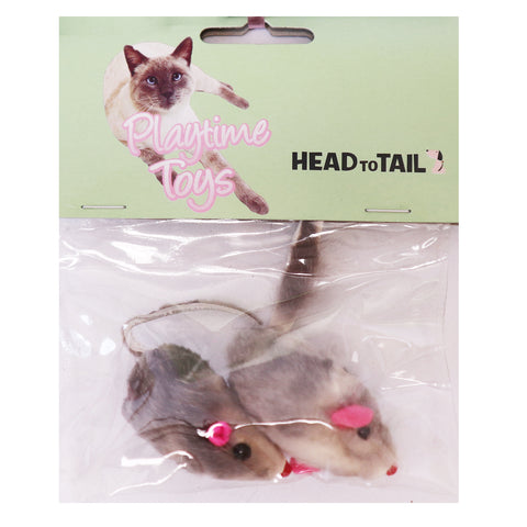 "grey mice cat toy stuffed with cotton 2"" 2 per pack"