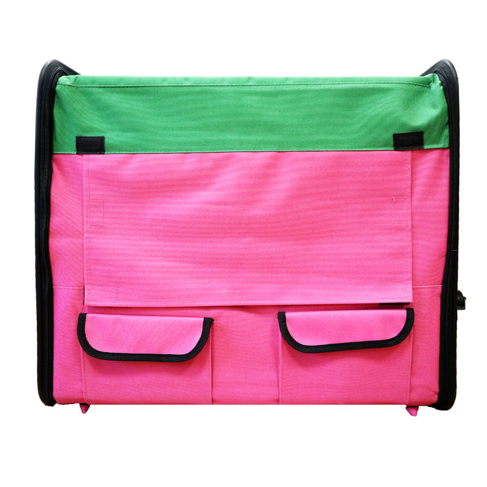Guardian Gear Watermelon Pink & Green Collapsible Dog Crate, Small