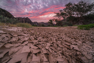 Dry river bed at sunset.