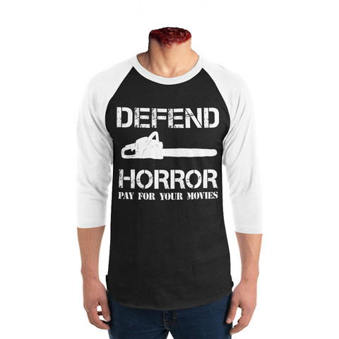 "Defend Horror ""Classic Chainsaw"" 3/4 sleeve baseball tee - Black/White"