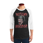 "Defend Horror ""Nightmare Demon"" 3/4 sleeve baseball tee - black/white"