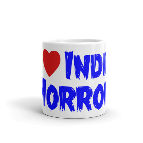 """I Heart Indie Horror"" Coffee Mug - Red/White/Blue"