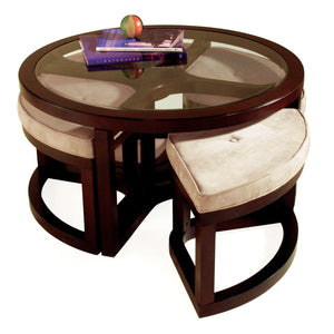 Magnussen T1020 Round Cocktail Table with Ottomans