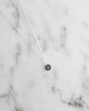 """V"" for Vegan Tiny Coin Necklace - Silver"