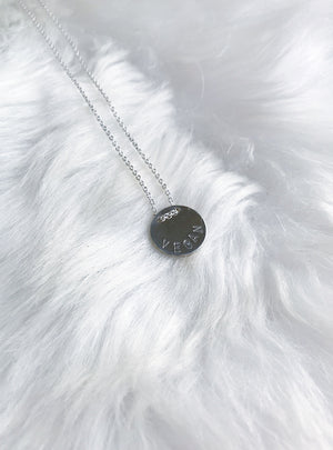 Button Message Necklace - Silver