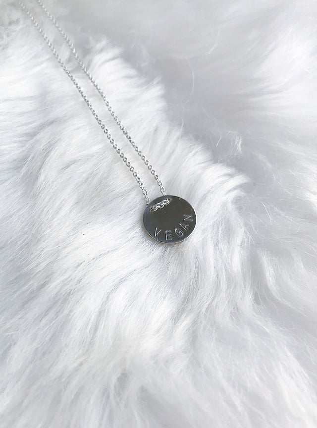 Veg Button Message Necklace - Silver