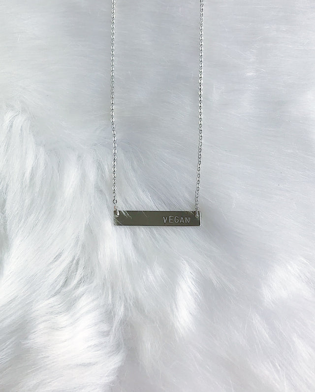 Veg Bar Message Necklace - Silver