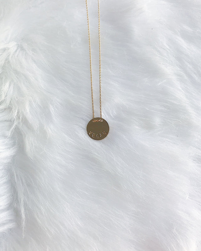 Custom VEGAN Button Message Necklace - Gold