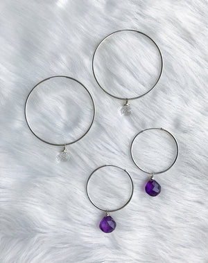 Gem Drop Endless Hoop Earrings - Silver