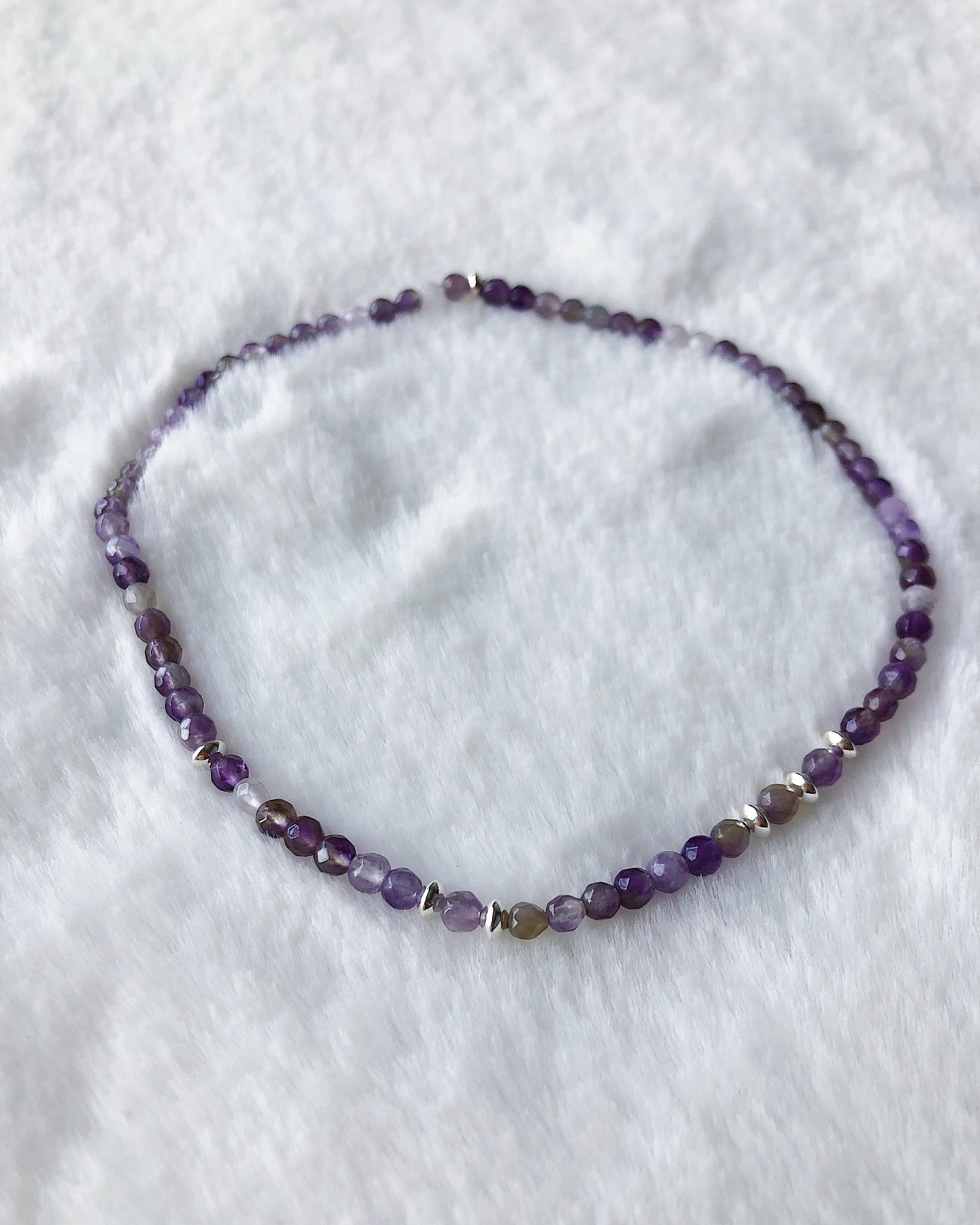 Stretch Gemstone Anklet - Silver