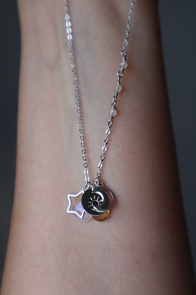 Celestial Charm Necklace - Silver