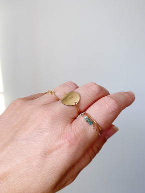 Grandidierite Chain Ring - Gold
