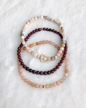 Sunstone Opal Garnet Stack - Gold