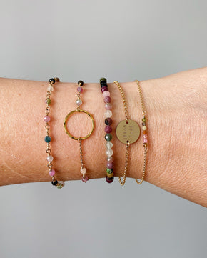 Circle Bracelet with Tourmaline - Gold