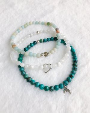 Turquoise Amazonite Moonstone Stack - Silver