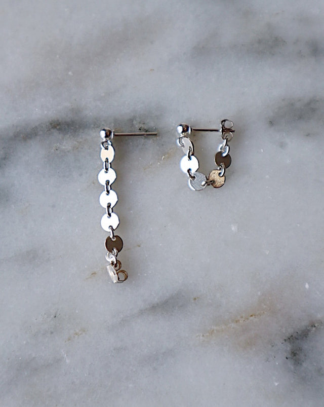 Coin Wrap Earrings - Silver