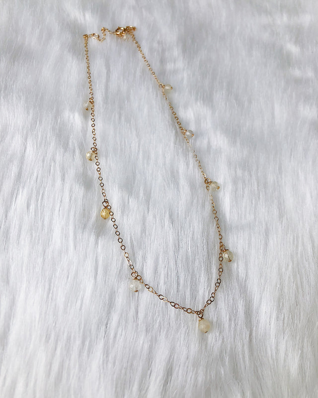 Dripping Gems Necklace - Gold