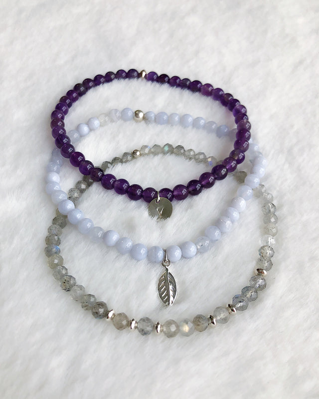 Labradorite Agate Amethyst Stack - Silver