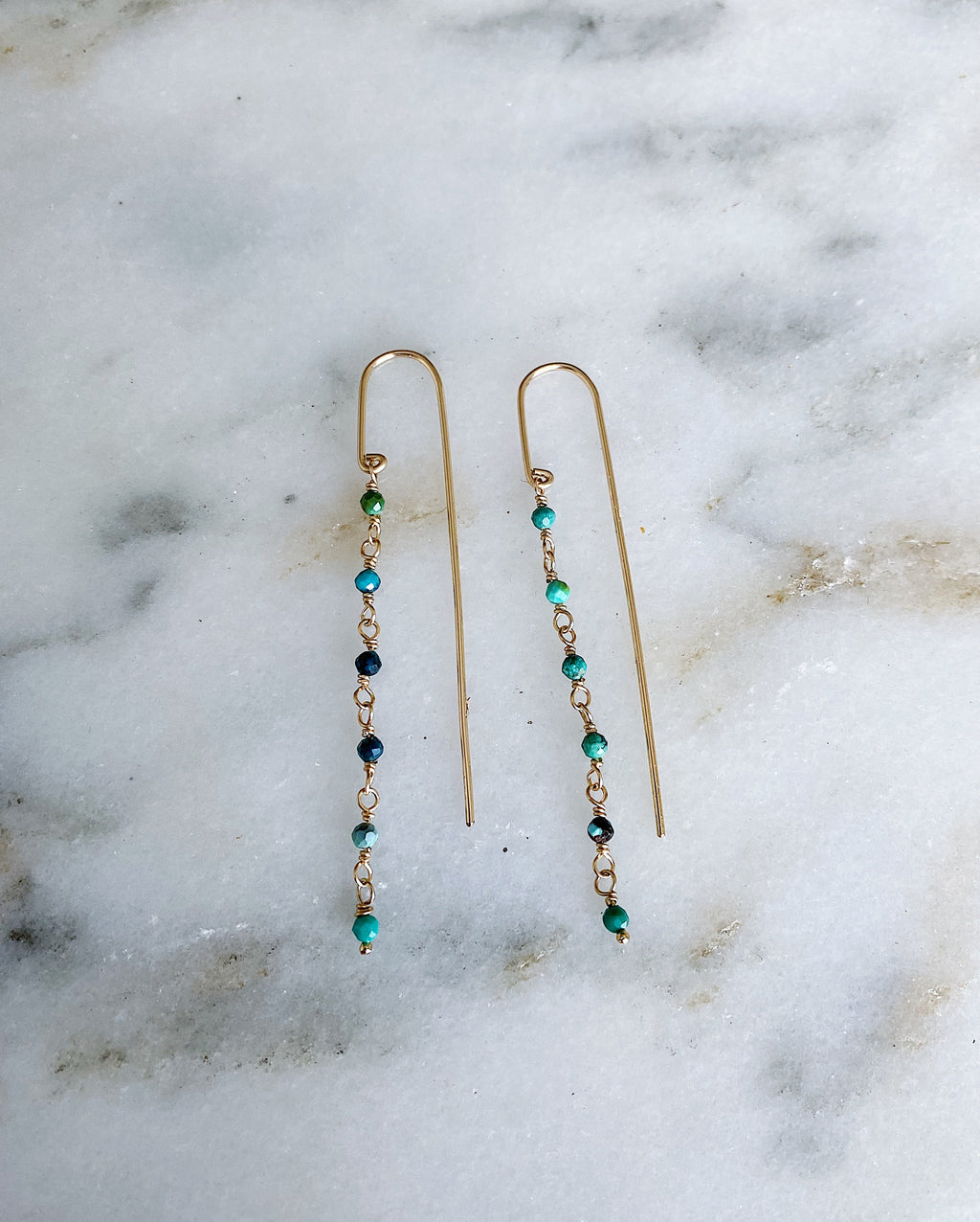 Turquoise Bar Threaders - Gold