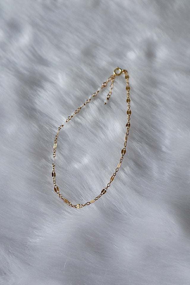 Sequin and Moonstone Anklet - Gold