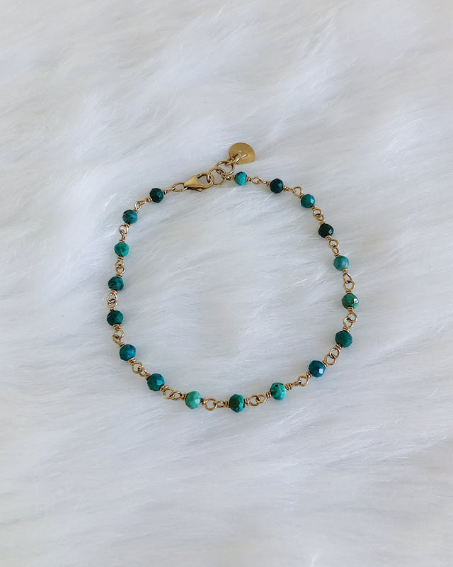Wire Wrapped Chrysocolla Bracelet - Silver or Gold