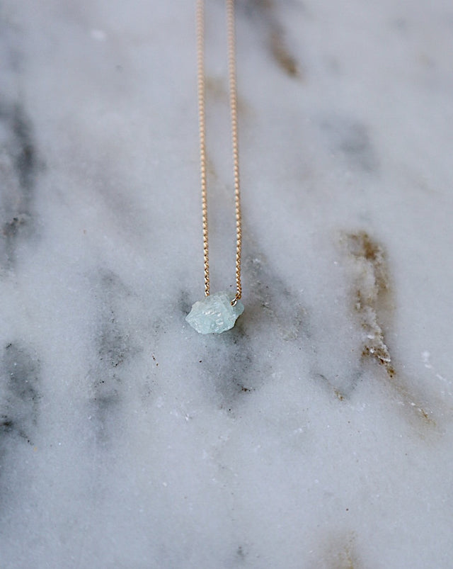 Floating Ocean Aquamarine Necklace - Gold