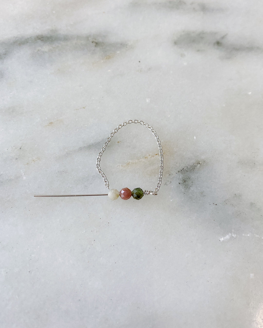 Watermelon Tourmaline Chain Ring - Silver
