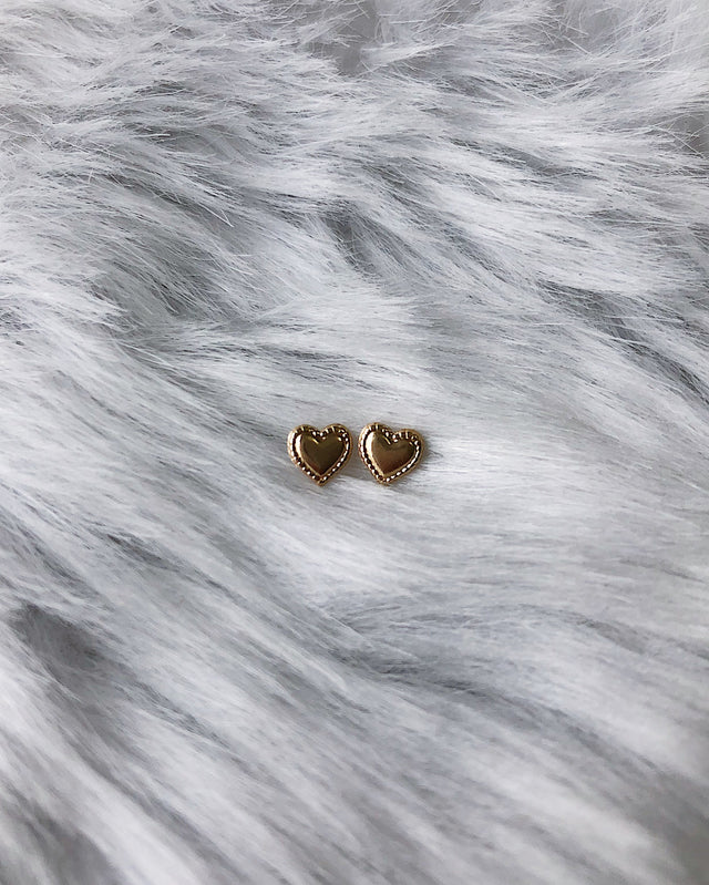 Heart Post Earrings - Gold or Silver